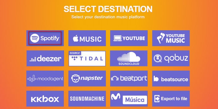select spotify as the destination