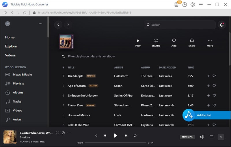 add tidal music to convert
